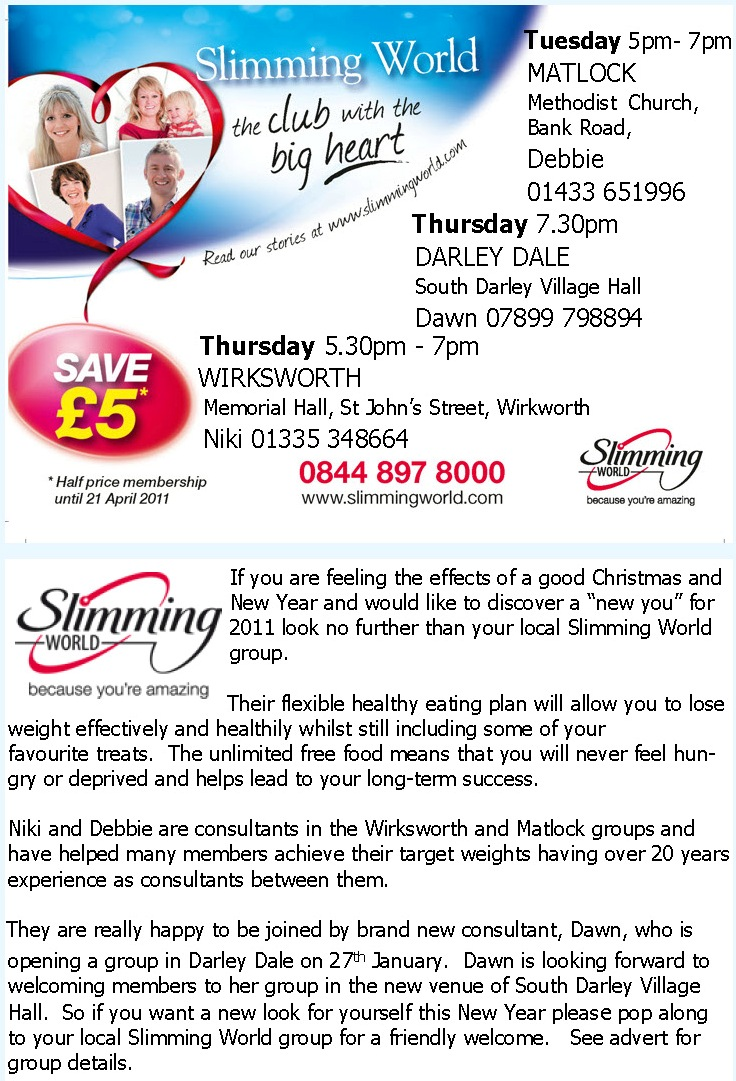Slimming world dales directory online tel 01629 57638 Slimming world website please